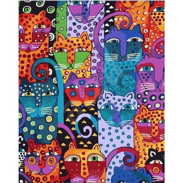 Malování podle čísel - Divoké kočky 40x50 cm bez rámu a bez vypnutí plátna - Malování podle čísel