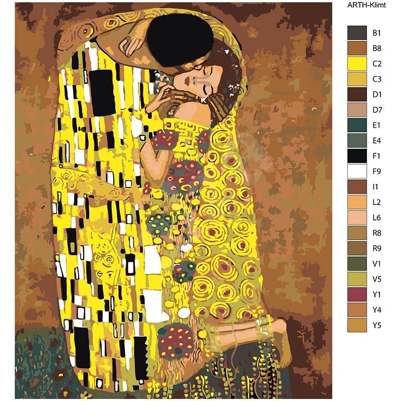 Malování podle čísel - Polibek (Gustav Klimt) 40x50 cm vypnuté plátno na rám - Malování podle čísel