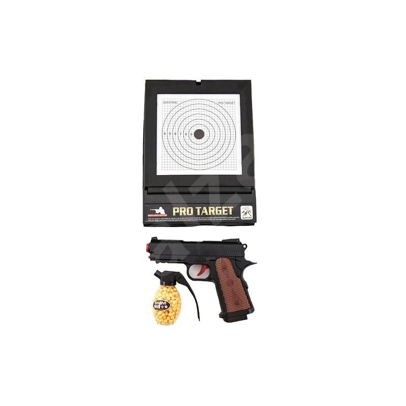 Pistole  plast na kuličky 6mm s terčem v krabici 45x29x5cm - Pistole