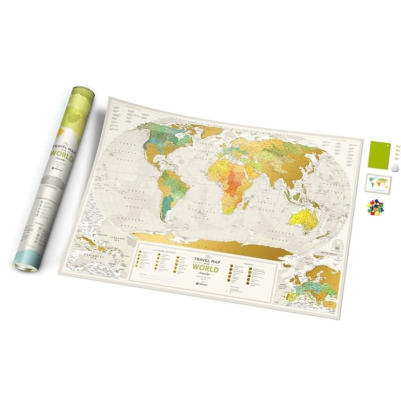 World Travel Geography stírací mapa světa + dárek 60x88cm EN - Mapa