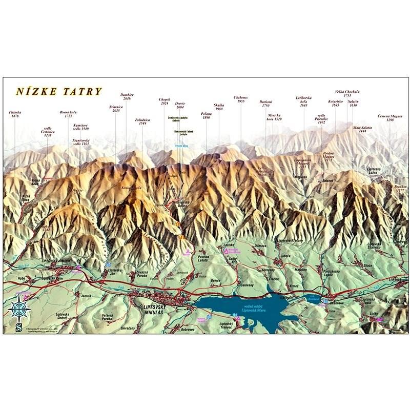 Nízke Tatry ze severu 65x100cm panoramatická lamino, lišty nástěnná mapa - Mapa