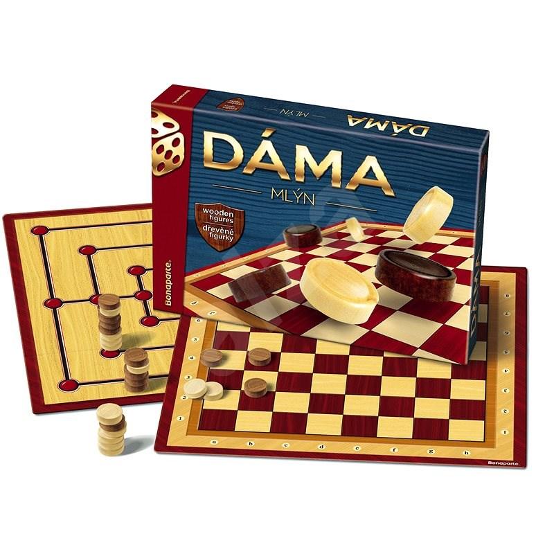 Dáma + mlýn dřevěné kameny společenská hra - Společenská hra
