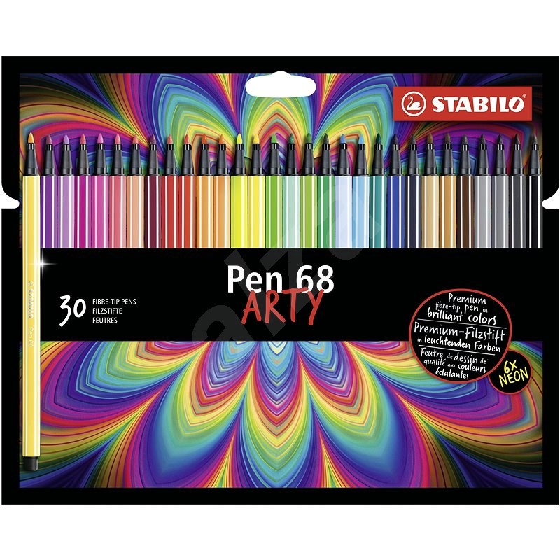 STABILO Pen 68kartonové pouzdro ARTY 30 barev - Fixy