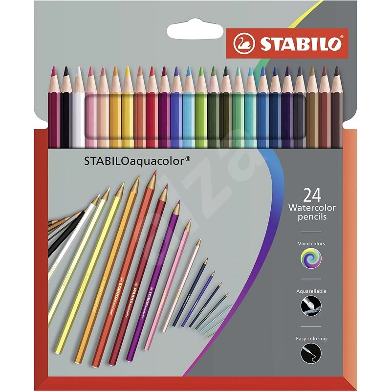 STABILOaquacolor kartonové pouzdro Premium 24 barev - Pastelky