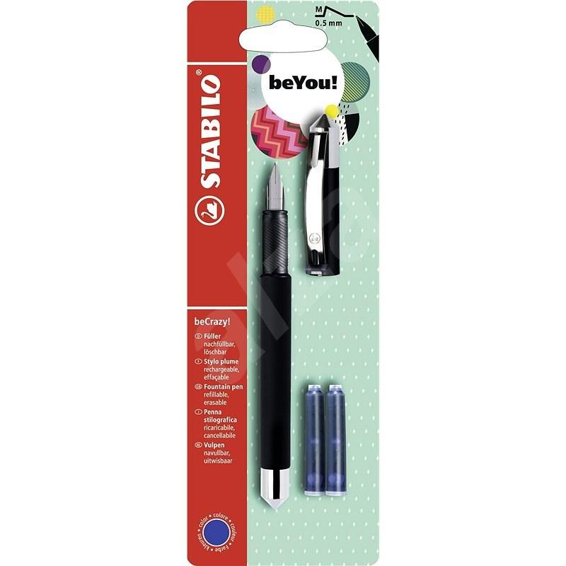 STABILO beCrazy! plnicí pero Uni Colors, černá + 2 náplně  - Plnicí pero