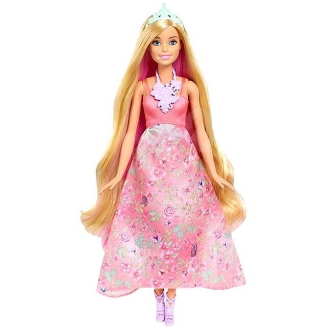 Mattel Barbie v růžových šatech s květinamy - Panenka