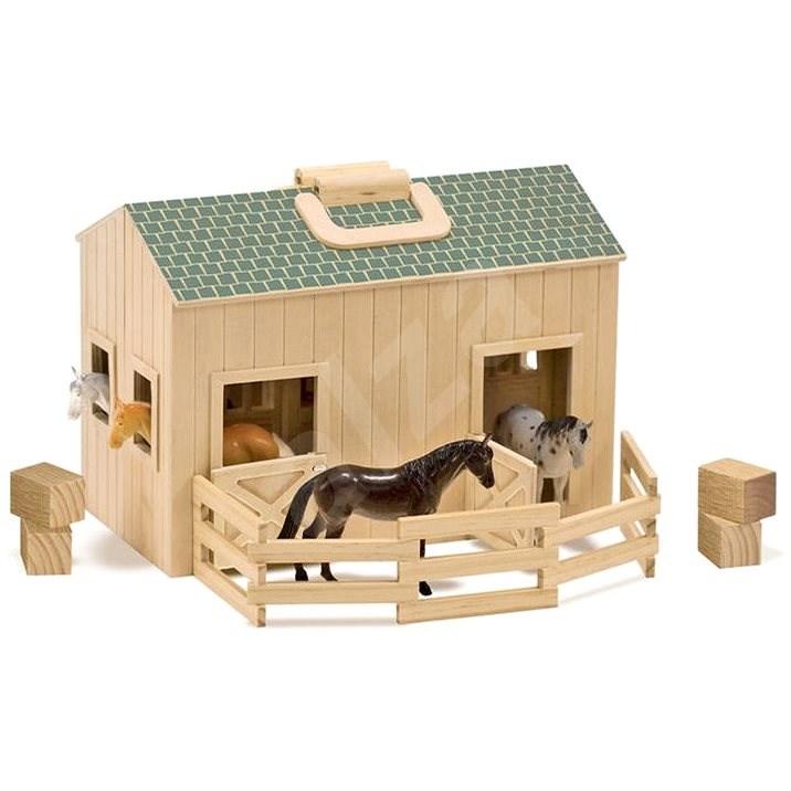 Melissa-Doug Rozkládací stáj s koňmi - Dřevěná hračka