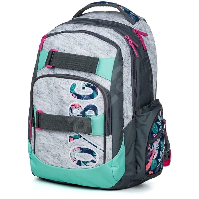 OXY Style Grey tropical - Školní batoh