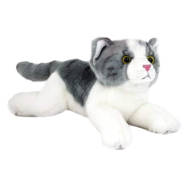 Rappa Kočka šedo-bílá, ležící velká - Plyšová hračka