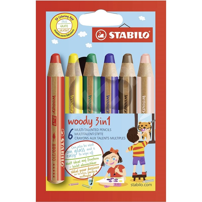 STABILO Woody 3v1, 6 barev - Pastelky