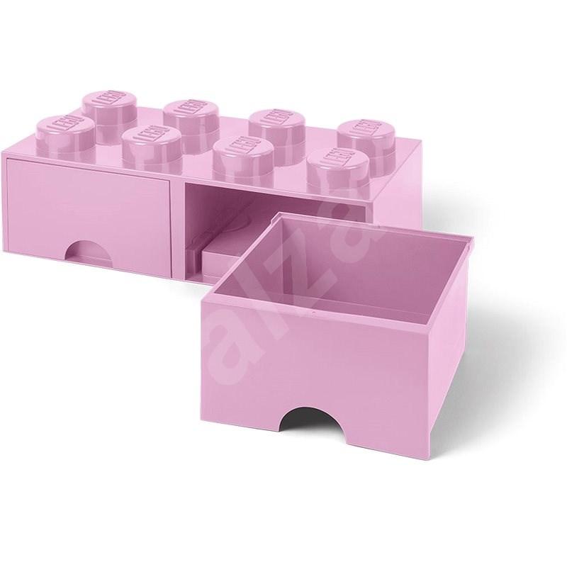 LEGO Úložný box 8 s šuplíky - světle růžová - Úložný box