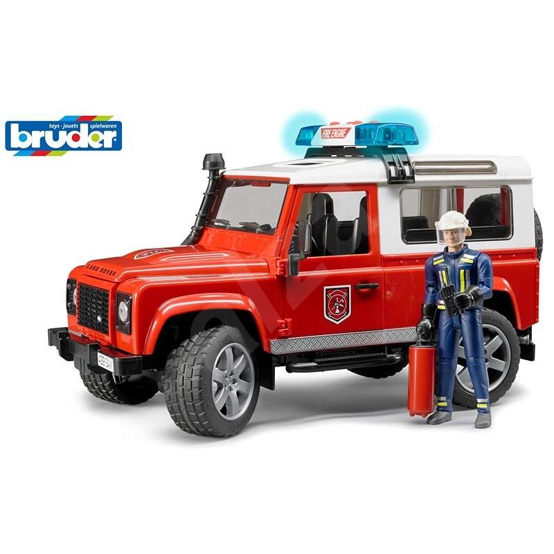Bruder Užitkové vozy - hasičské auto Land Rover s hasičem - Auto