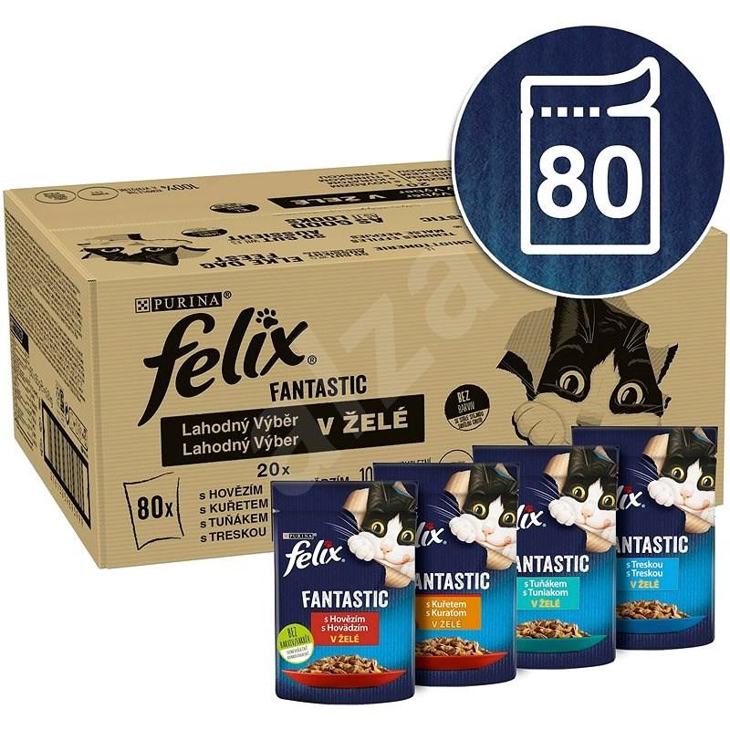 Felix Fantastic s hovězí/kuře/tuňák/treska v želé  80 x 85 g - Kapsička pro kočky