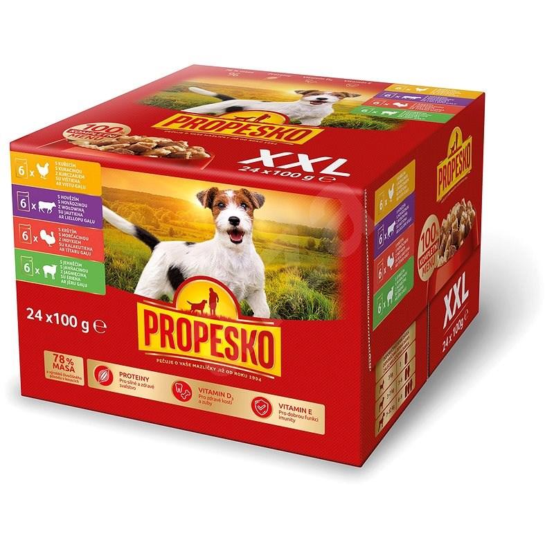 Propesko Kapsička kuřecí, hovězí, krůtí, jehněčí 24 × 100 g  - Kapsička pro psy