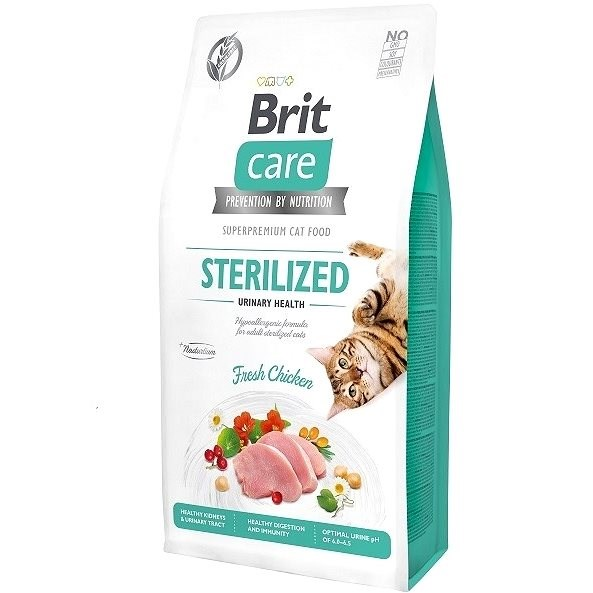Brit Care Cat Grain-Free Sterilized Urinary Health, 7 kg - Granule pro kočky