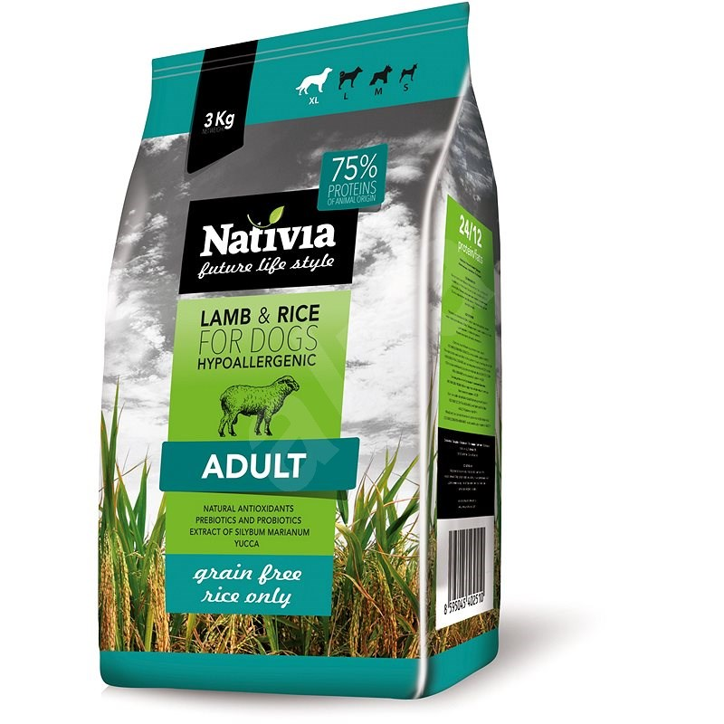 Nativia Adult lamb & rice 3 kg - Granule pro psy