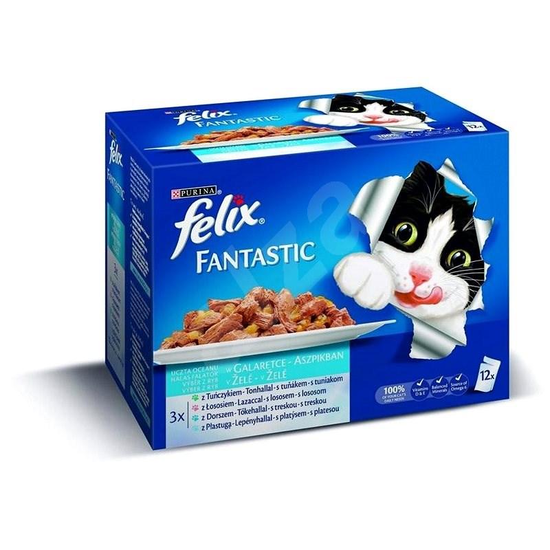 Felix fantastic (12 × 100 g) - losos/platýs/tuňák/treska - Kapsička pro kočky