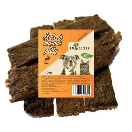 NATURECA pochoutka masové pláty - Jelen, 100 % maso 100g - Sušené maso pro psy