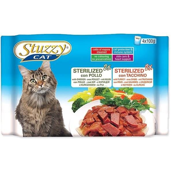 STUZZY Kapsička multipack Sterilized kuřecí + krůtí 4 x 100 g - Kapsička pro kočky