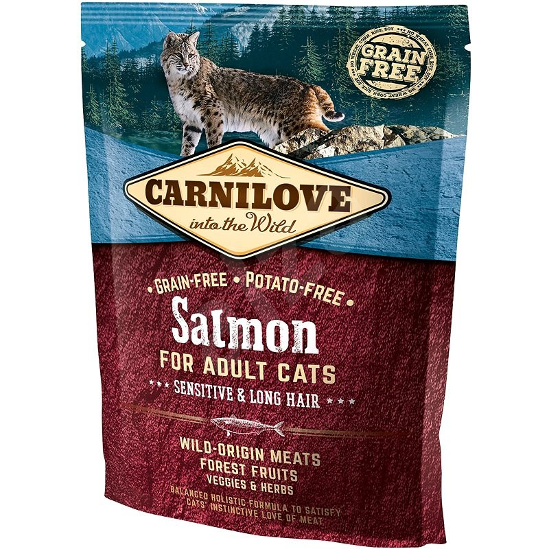 Carnilove salmon for adult cats – sensitive & long hair 400 g - Granule pro kočky