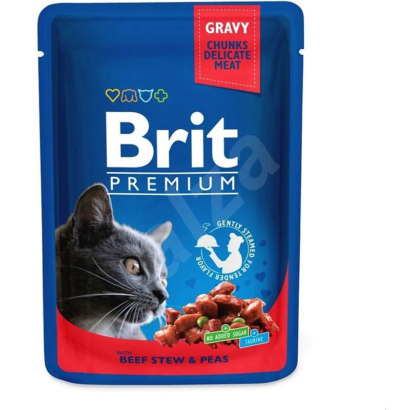Brit Premium Cat Pouches with Beef Stew & Peas 100 g - Kapsička pro kočky
