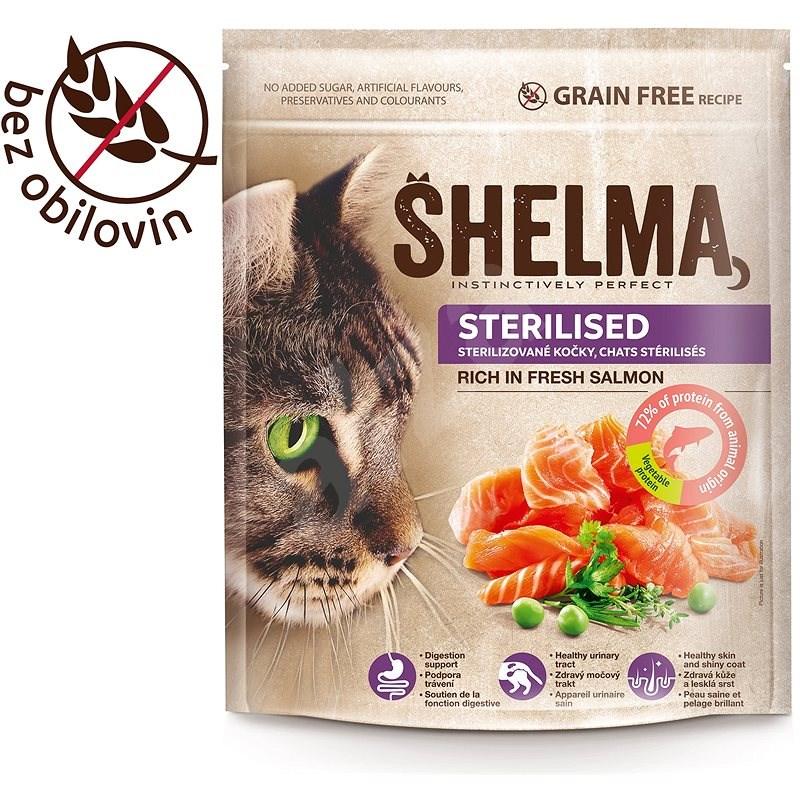 Shelma Sterile bezobilné granule s čerstvým lososem pro dospělé kočky 750 g - Granule pro kočky