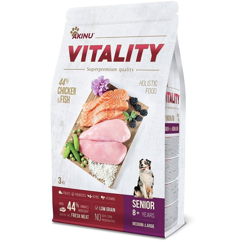 Akinu VITALITY dog senior medium/large chicken & fish 3 kg - Granule pro psy