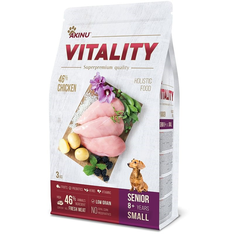 Akinu VITALITY dog senior small chicken 3 kg - Granule pro psy