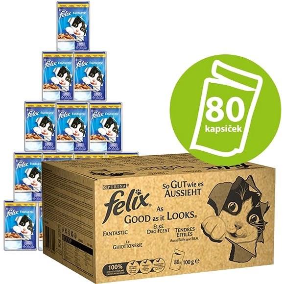 Felix Fantastic Multipack 80 × 100 g s hovězím, kuřetem, tuňákem a treskou v želé - Kapsička pro kočky
