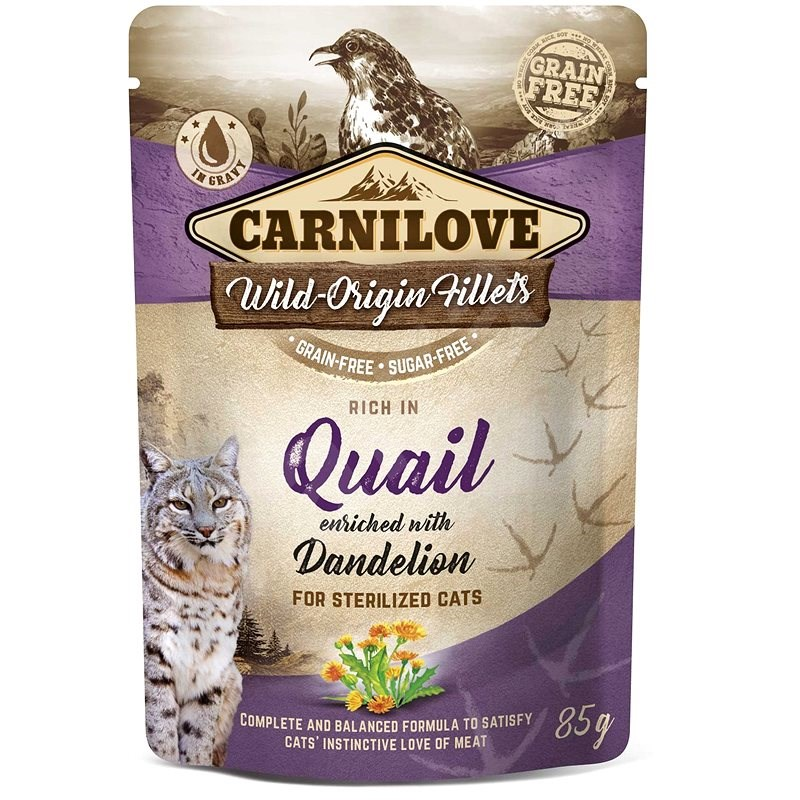 Carnilove Cat Pouch Rich in Quail Enriched with Dandelion for sterilized 85 g - Kapsička pro kočky