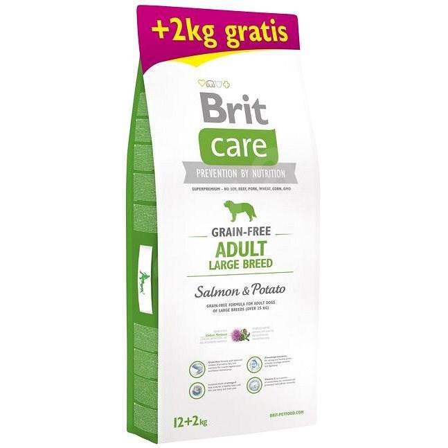Brit Care Grain-free Adult Large Breed Salmon & Potato 12 + 2 kg - Granule pro psy