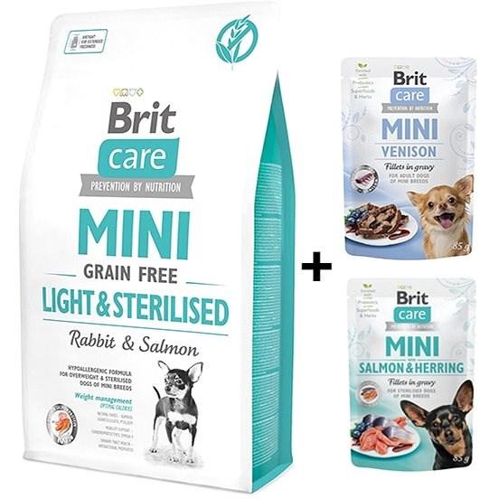 Brit Care Mini Grain Free Light & Sterilised 2 kg + 2x kapsička 85 g zdarma - Granule pro psy