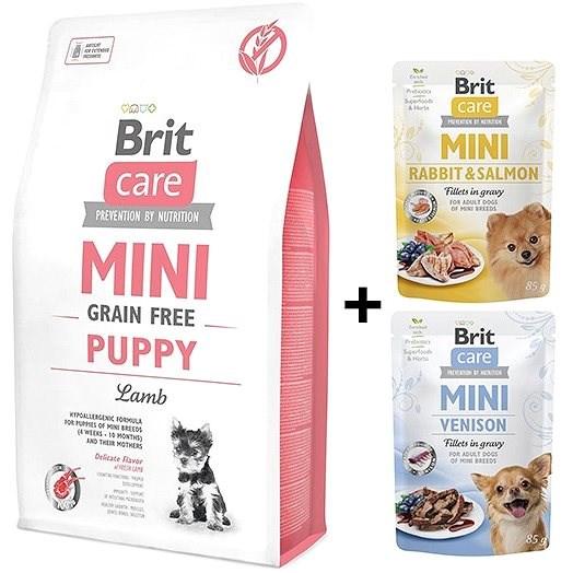 Brit Care Mini Grain Free Puppy Lamb 2 kg + 2x kapsička 85 g zdarma - Granule pro štěňata
