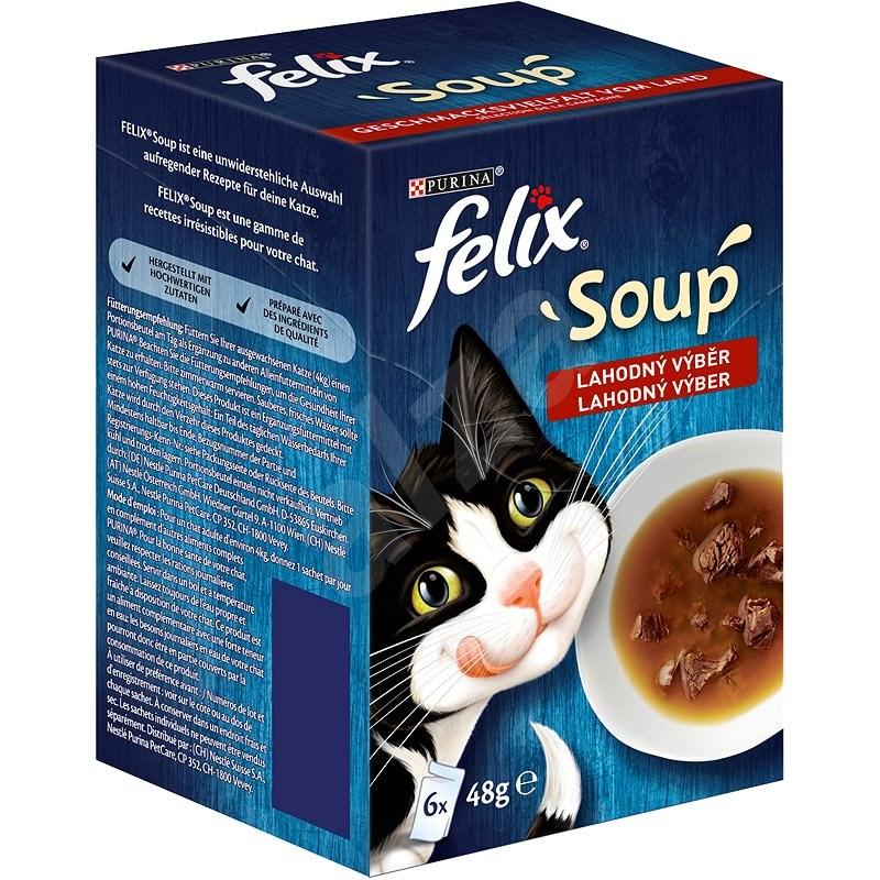 Felix Soup Lahodný výběr s hovězím, kuřetem a jehněčím 6x48g - Kapsička pro kočky