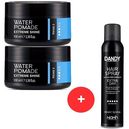 DANDY Extreme Shine Water Pomade 2 x 100 ml + DANDY Extra Dry Fixing Hair Spray 300 ml - Sada