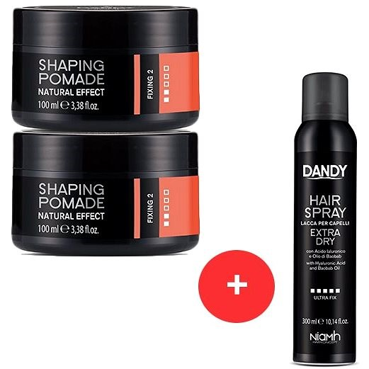 DANDY Natural Efect Shaping Pomade 2 x 100 ml + DANDY Extra Dry Fixing Hair Spray 300 ml - Sada