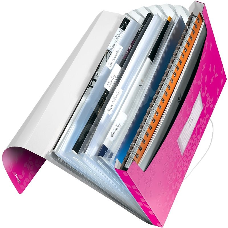 Leitz WOW A4 s přihrádkami růžová - Aktovka na dokumenty