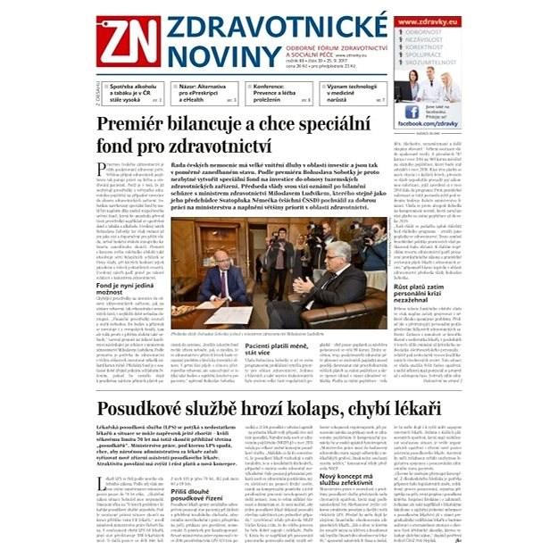 Zdravotnické noviny - pro lékaře - 39/2017 - Elektronické noviny