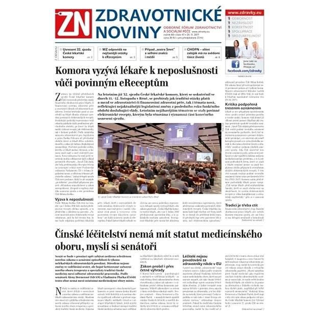 Zdravotnické noviny - pro lékaře - 47/2017 - Elektronické noviny