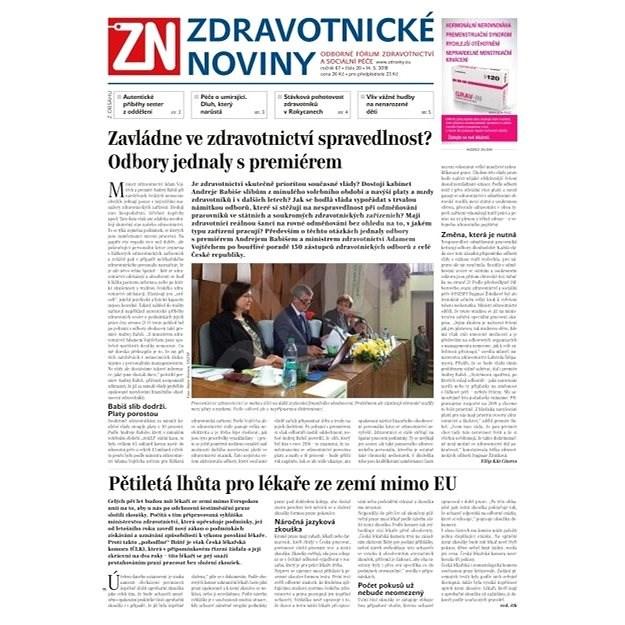 Zdravotnické noviny - pro lékaře - 20/2018 - Elektronické noviny