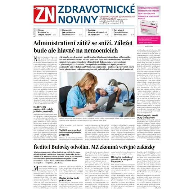 Zdravotnické noviny - pro lékaře - 28-29/2018 - Elektronické noviny
