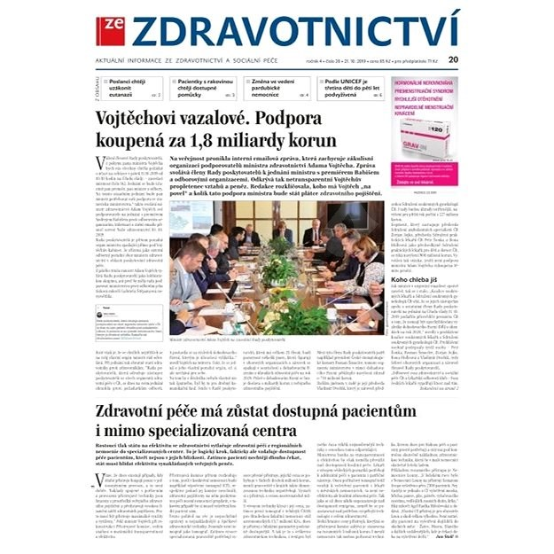 Ze zdravotnictví + PROFI Medicína - 20/2019 - Elektronické noviny