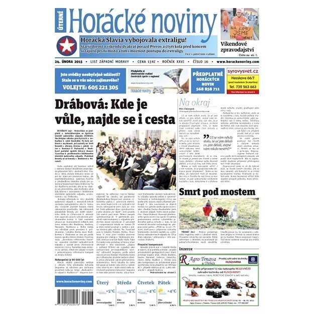 Horácké noviny - úterý 24.2.2015 č.16  - Elektronické noviny
