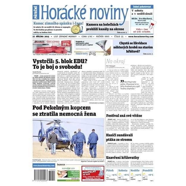Horácké noviny - pátek 27.3.2015 č. 25 - Elektronické noviny