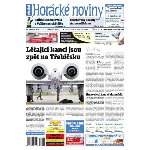 Horácké noviny - pátek 10. 4. 2015 č.29 - Elektronické noviny