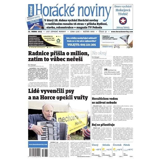Horácké noviny - úterý 21.4.2015 č. 32 - Elektronické noviny