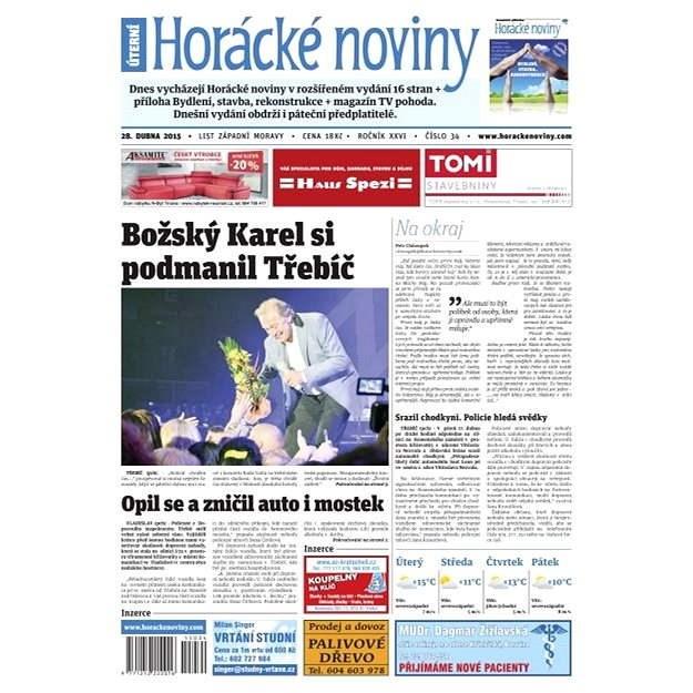 Horácké noviny - úterý 28.4.2015 č. 34 - Elektronické noviny