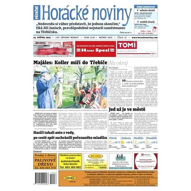 Horácké noviny - pátek 14.5.2015 č. 37 - Elektronické noviny