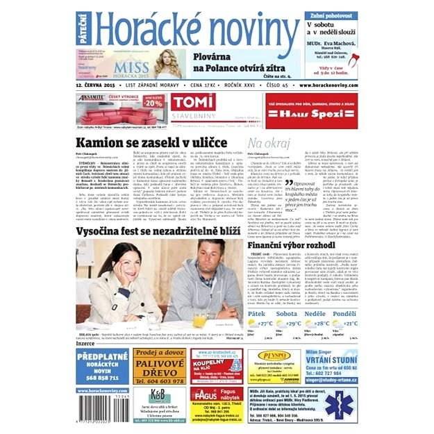 Horácké noviny - Pátek 12.6.2015 č. 45 - Elektronické noviny