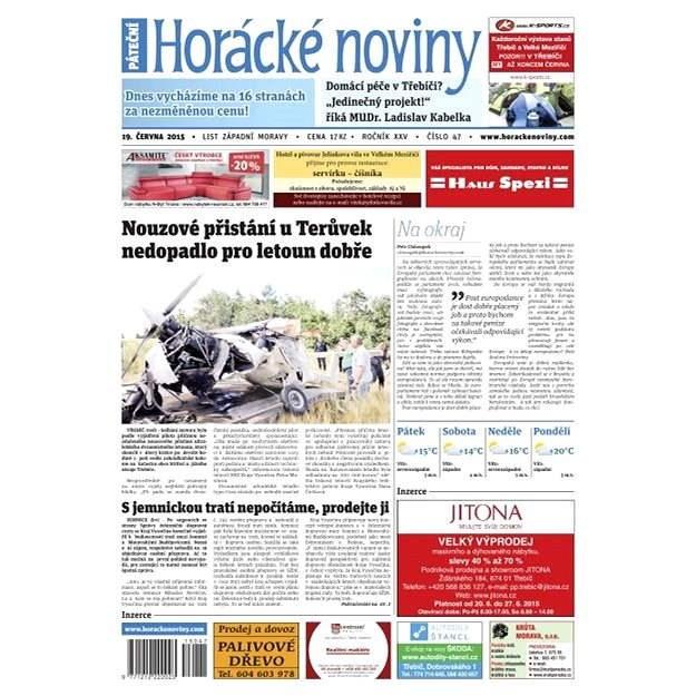 Horácké noviny - Pátek 19.6.2015 č. 47 - Elektronické noviny